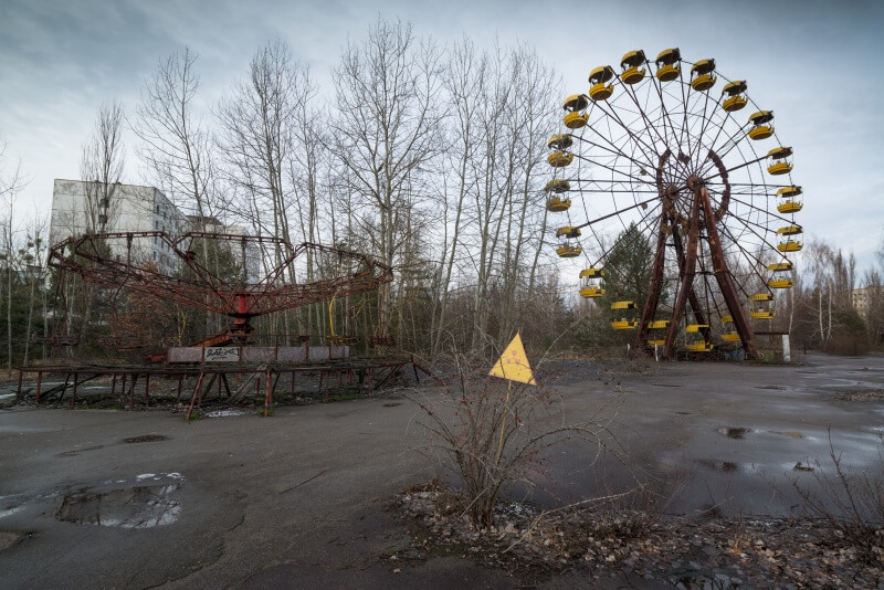 iconic yellow ferris in Pripyat amusement park